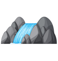 Small waterfall on the rocks vector