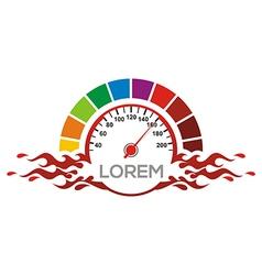 Speedometer logo automotive red race racing drag vector