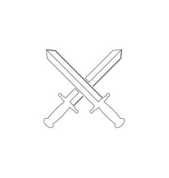 sword cross flat icon vector image