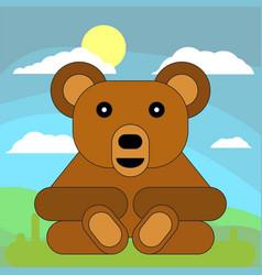 teddy bear in cartoon flat style on the vector image