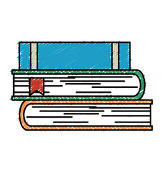 Text books pile isolated icon vector