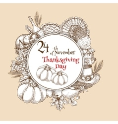 Thanksgiving Day sketch banner emblem vector