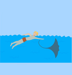 the stingray stung the teenager in the sea vector image