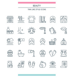 Thin line design beauty icons vector