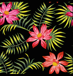 tropical lotus flowers leaves seamless black vector image