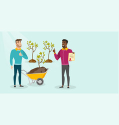 Two young multicultural men plant trees vector