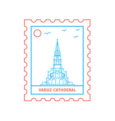 Vaduz cathderal postage stamp blue and red line vector