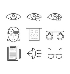 Vision diagnostic and correction icons vector