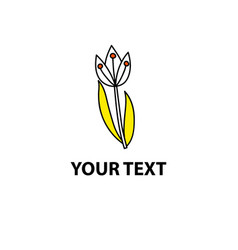 white doodle tulip with yellow leafs vector image
