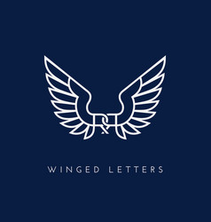 Winged letters vector