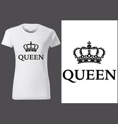 Women white t-shirt with royal crown vector
