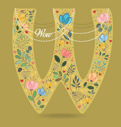 Yellow letter w with floral decor and necklace vector