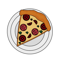 color image cartoon slice pizza with sausage and vector image