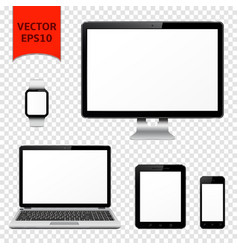 desktop computer laptop tablet pc mobile phone vector image