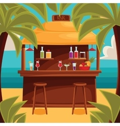 Summer bar beach cafe with palm trees vector image
