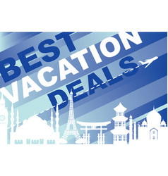 banner for traveling with architectural landmarks vector image vector image