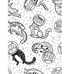 graphic cats astronauts drawn in line art style vector image vector image