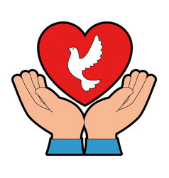 hands human with dove of peace and heart vector image vector image