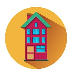 House with three floors flat icon vector image