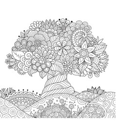ornate tree outline vector image vector image