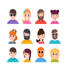 people avatars collection simple flat cartoon vector image