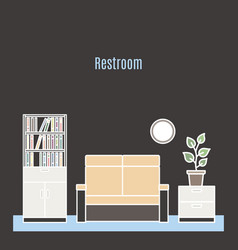 restroom interior design in line style vector image vector image