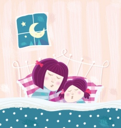sleeping mother and child vector image