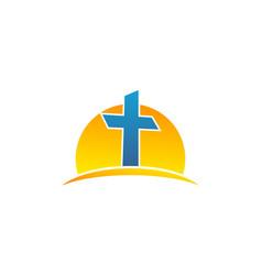 sun and symbol christian cross logo vector image