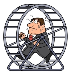Businessman in a hamster wheel vector image