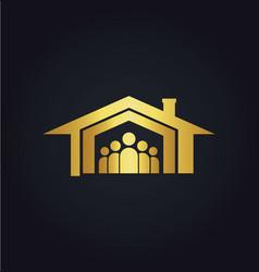 home family icon gold logo vector image