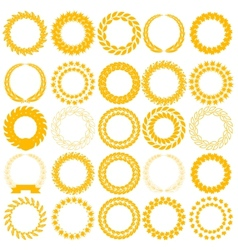 Set yellow laurel wreath on the white background vector image vector image