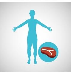 silhouette man meat food design vector image
