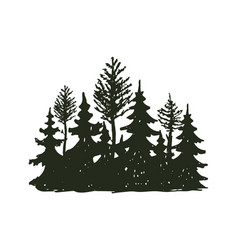 tree outdoor travel black silhouette coniferous vector image vector image