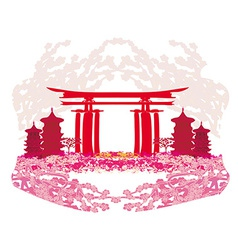 Abstract card with Asian buildings and cherry vector image vector image
