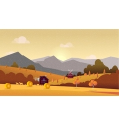 Countryside landscape with hay field and village vector image