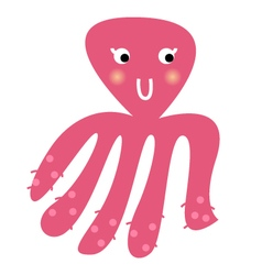 Cute beautiful pink Octopus isolated on white vector image vector image