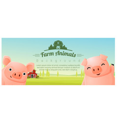farm animal and rural landscape with pigs vector image vector image