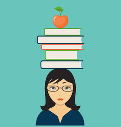 sad girl with books and apple vector image vector image