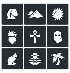 Set of egypt icons sphinx dune sun vector