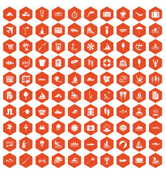 100 water recreation icons hexagon orange vector