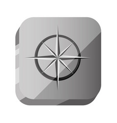 3d botton compass with star symbol vector