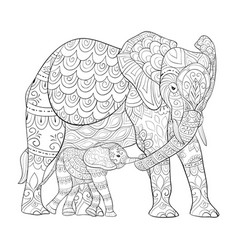 Adult coloring bookpage a elephants family image vector