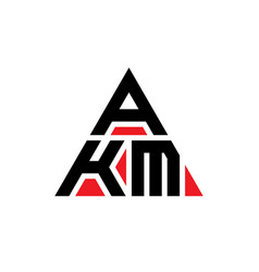 Akm triangle letter logo design with triangle vector