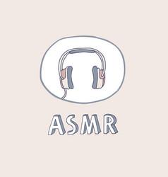 Asmr headphones logo icon vector