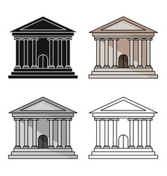 Bank icon in cartoon style isolated on white vector