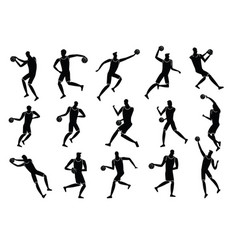 basketball players action silhouettes vector image