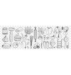 Bath and sauna attributes doodle set vector