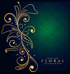 beautiful golden floral decoration background vector image