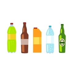 Beverages Banner Set of Drinks in Bottles vector