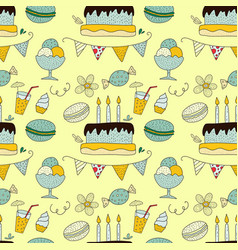 birthday seamless pattern vector image